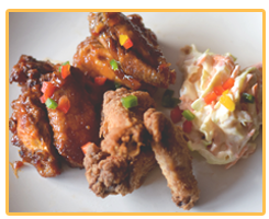 Chicken Wing Combo; Sweet Chili, BBQ, Southern Fried Served With Potato Salad